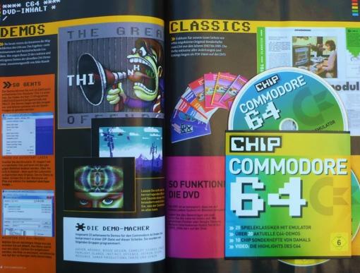 Aufgeschlagenes CHIP-Sonderheft zum Commodore 64 mit DVD