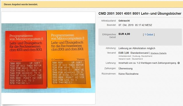 CBM 2001 3001 4001 8001 Lehr- und Uebungsbücher